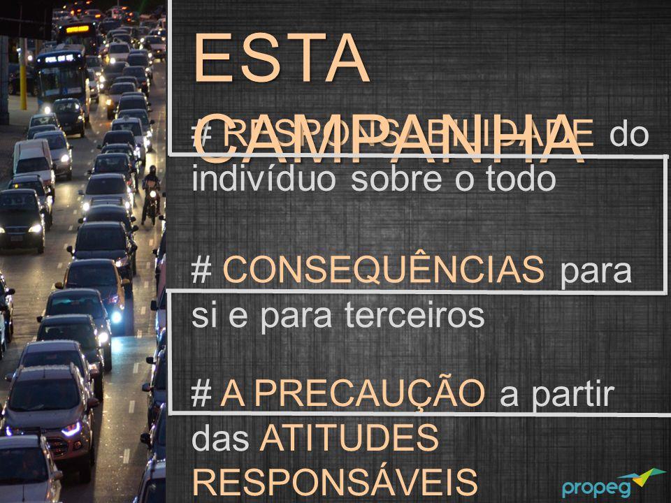 # RESPONSABILIDADE do indivíduo sobre o todo # CONSEQUÊNCIAS para si e para terceiros # A PRECAUÇÃO a partir das ATITUDES RESPONSÁVEIS ESTA CAMPANHA