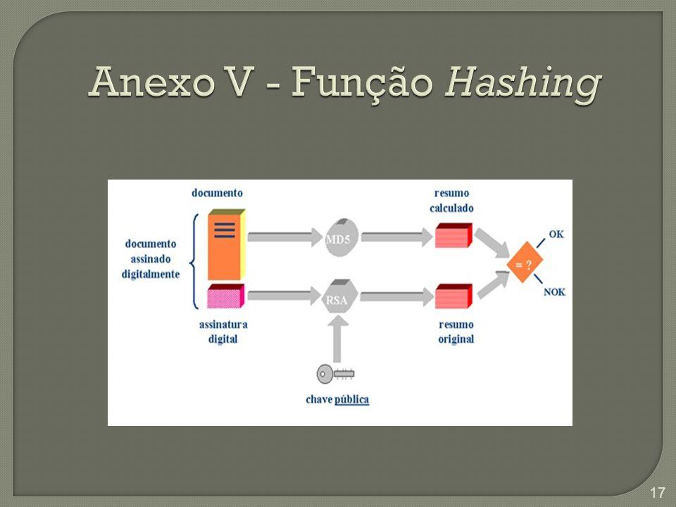 Anexo V - Função Hashing Verificando validade de assinatura com Hash 17