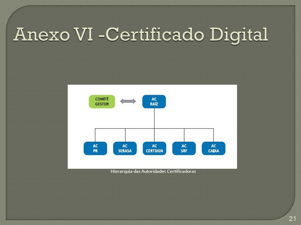 Anexo VI -Certificado Digital Hierarquia das Autoridades Certificadoras 21