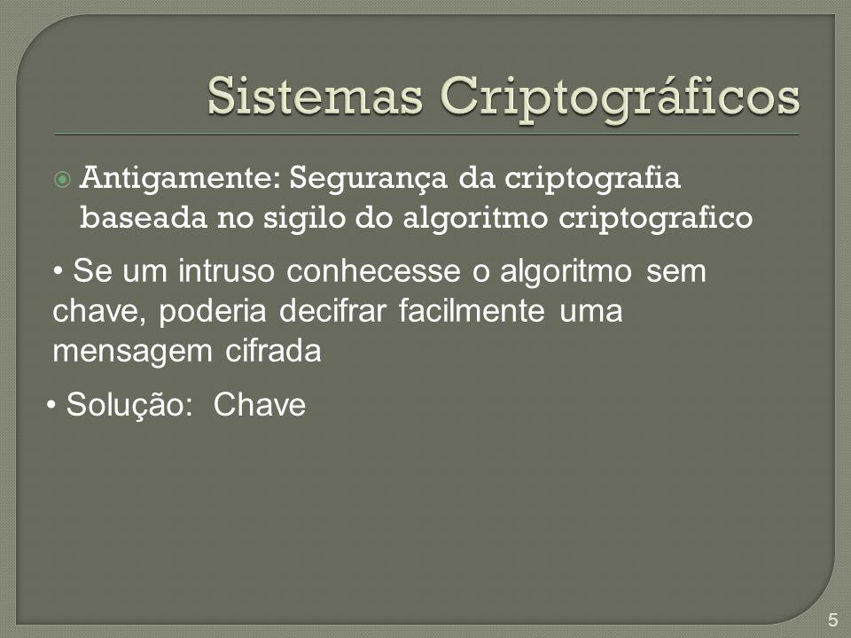  Antigamente: Segurança da criptografia baseada no sigilo do algoritmo criptografico Se um intruso conhecesse o algoritmo sem chave, poderia decifrar facilmente uma mensagem cifrada Solução: Chave 5