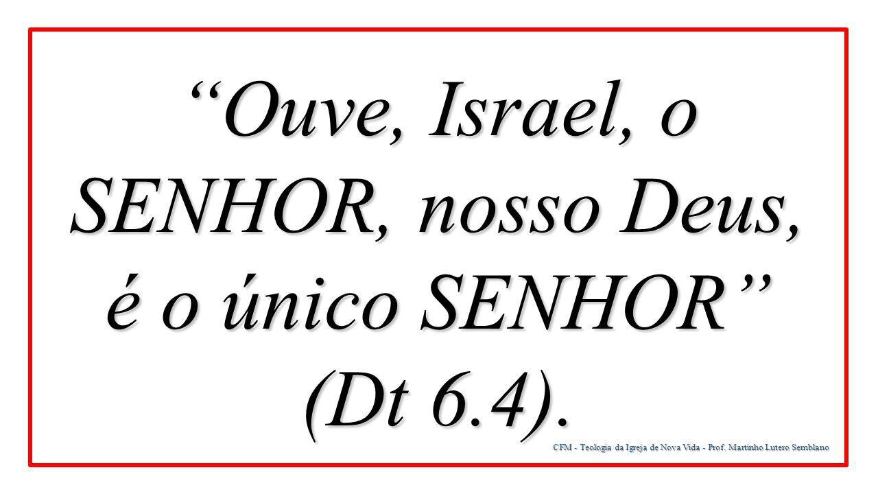 """CFM - Teologia da Igreja de Nova Vida - Prof. Martinho Lutero Semblano """"Ouve, Israel, o SENHOR, nosso Deus, é o único SENHOR"""" (Dt 6.4)."""