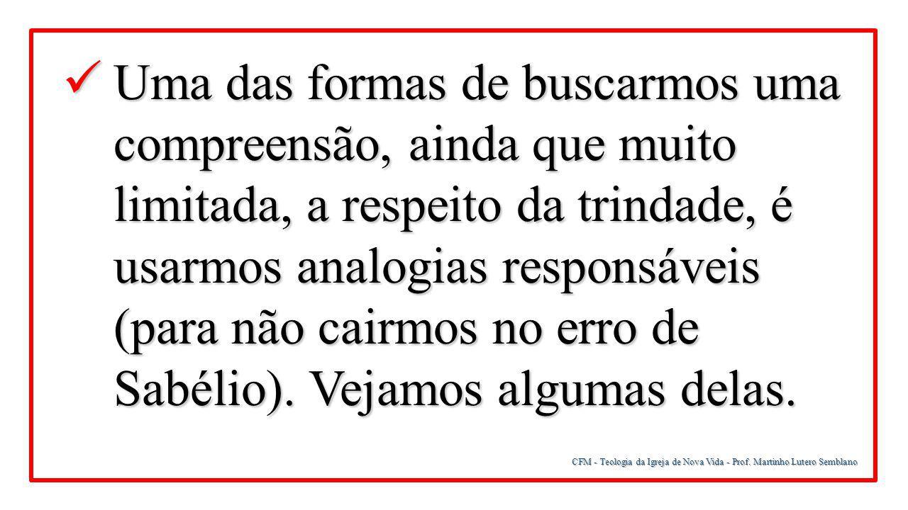 CFM - Teologia da Igreja de Nova Vida - Prof. Martinho Lutero Semblano Uma das formas de buscarmos uma compreensão, ainda que muito limitada, a respei