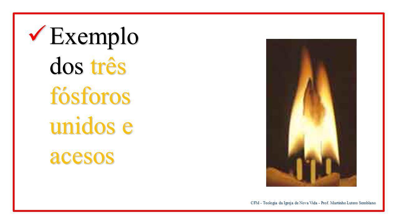 CFM - Teologia da Igreja de Nova Vida - Prof. Martinho Lutero Semblano Exemplo dos três fósforos unidos e acesos Exemplo dos três fósforos unidos e ac