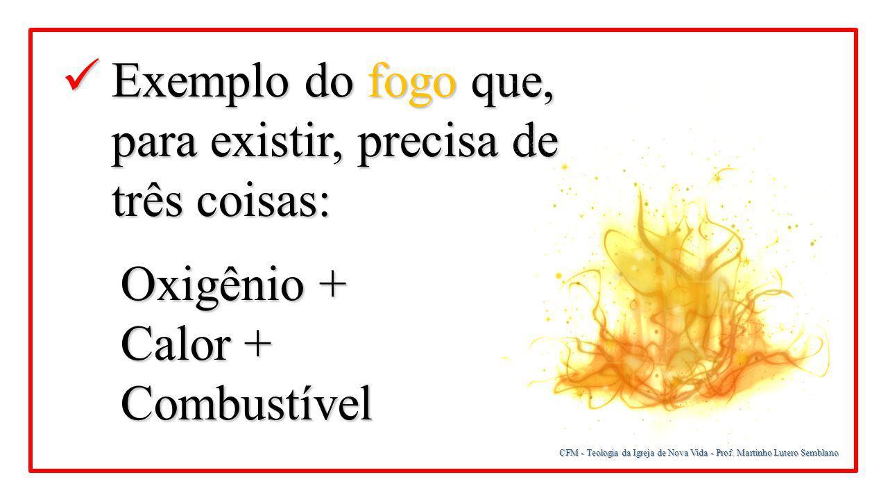 CFM - Teologia da Igreja de Nova Vida - Prof. Martinho Lutero Semblano Exemplo do fogo que, para existir, precisa de três coisas: Exemplo do fogo que,