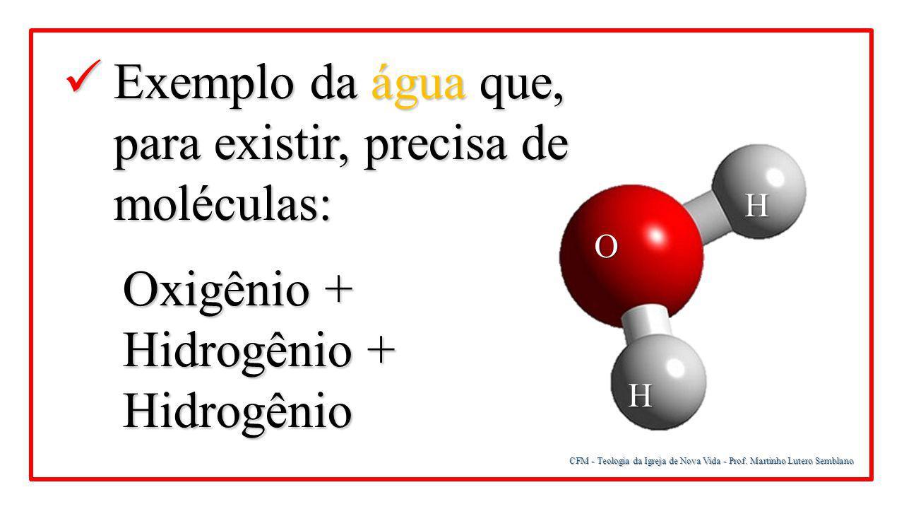 CFM - Teologia da Igreja de Nova Vida - Prof. Martinho Lutero Semblano Exemplo da água que, para existir, precisa de moléculas: Exemplo da água que, p