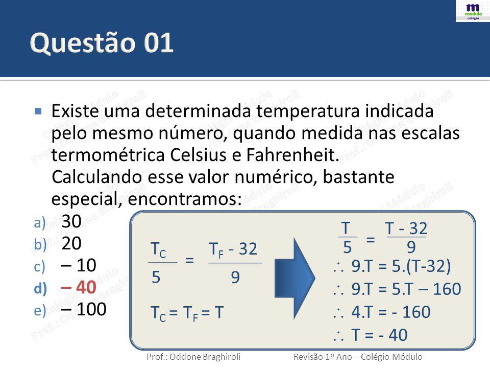 Prof.: Oddone BraghiroliRevisão 1º Ano – Colégio Módulo  Água líquida é aquecida de 0°C até 100°C.