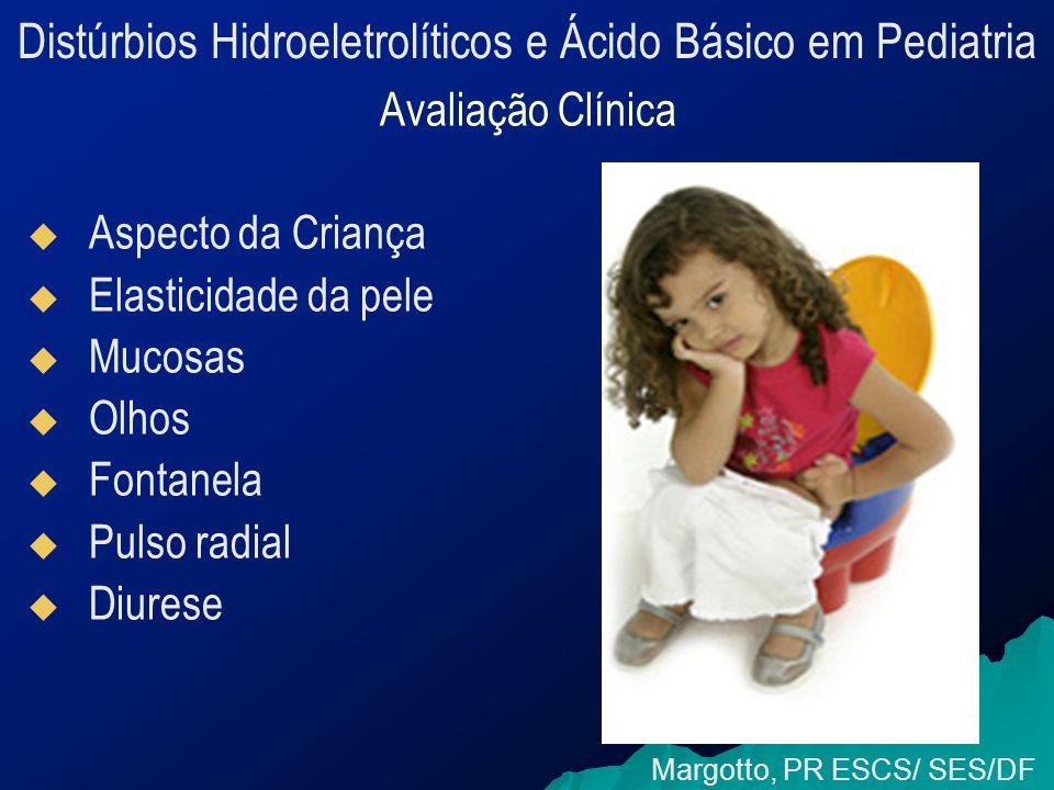 Distúrbios Hidroeletrolíticos e Ácido Básico em Pediatria Avaliação Clínica   Aspecto da Criança   Elasticidade da pele   Mucosas   Olhos   Fontanela   Pulso radial   Diurese Margotto, PR ESCS/ SES/DF