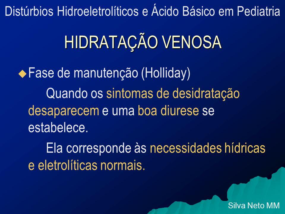 HIDRATAÇÃO VENOSA   Fase de manutenção (Holliday) Quando os sintomas de desidratação desaparecem e uma boa diurese se estabelece.