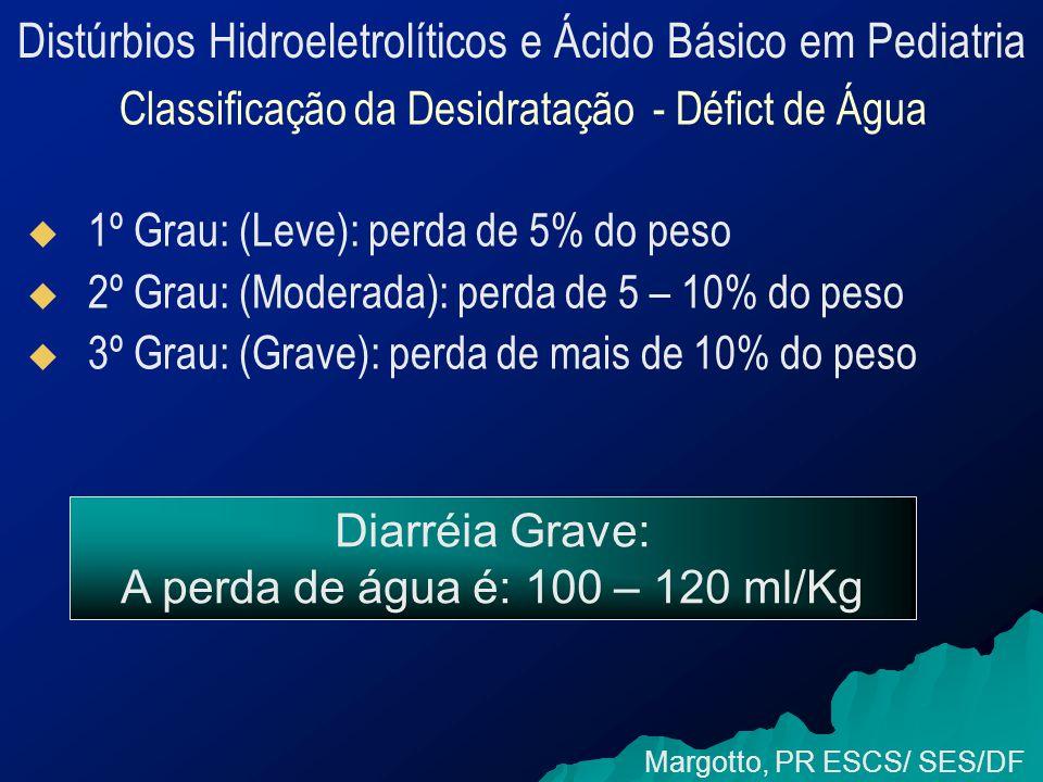 Distúrbios Hidroeletrolíticos e Ácido Básico em Pediatria Classificação da Desidratação - Défict de Água   1º Grau: (Leve): perda de 5% do peso   2º Grau: (Moderada): perda de 5 – 10% do peso   3º Grau: (Grave): perda de mais de 10% do peso Margotto, PR ESCS/ SES/DF Diarréia Grave: A perda de água é: 100 – 120 ml/Kg