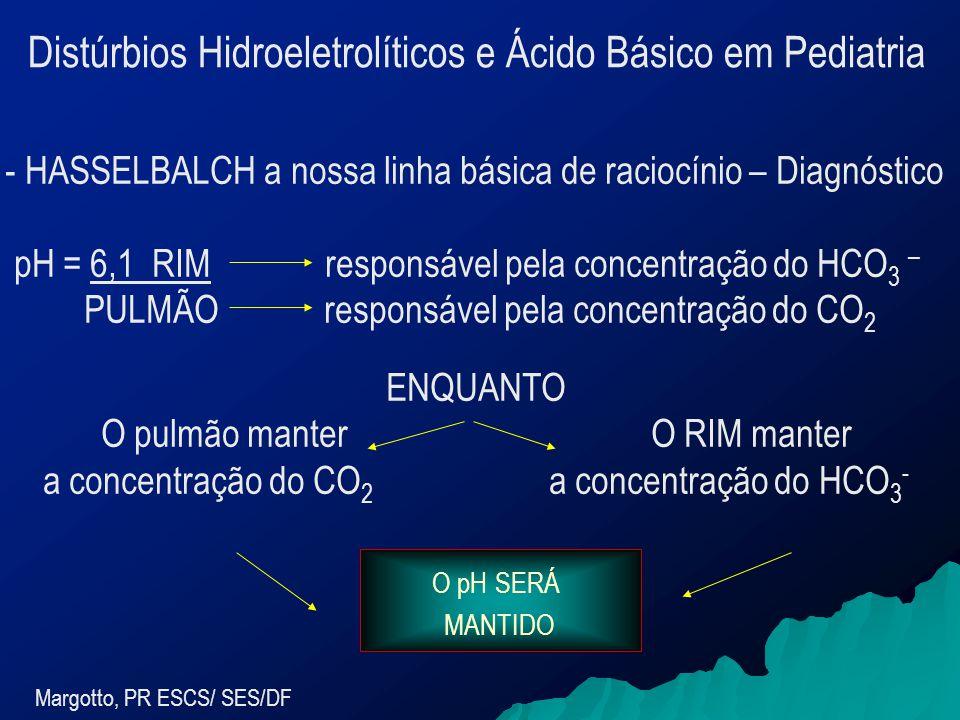 Margotto, PR ESCS/ SES/DF - HASSELBALCH a nossa linha básica de raciocínio – Diagnóstico pH = 6,1 RIM responsável pela concentração do HCO 3 – PULMÃO responsável pela concentração do CO 2 ENQUANTO O pulmão manter O RIM manter a concentração do CO 2 a concentração do HCO 3 - O pH SERÁ MANTIDO Distúrbios Hidroeletrolíticos e Ácido Básico em Pediatria