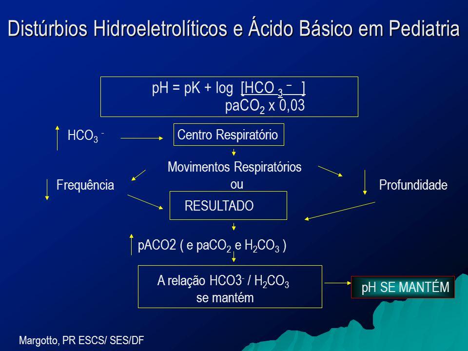 Margotto, PR ESCS/ SES/DF pH = pK + log [HCO 3 – ] paCO 2 x 0,03 Centro Respiratório Movimentos Respiratórios ou HCO 3 - FrequênciaProfundidade RESULTADO pACO2 ( e paCO 2 e H 2 CO 3 ) A relação HCO3 - / H 2 CO 3 se mantém pH SE MANTÉM