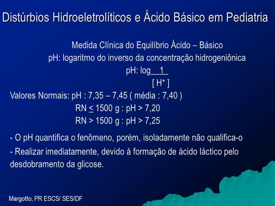 Distúrbios Hidroeletrolíticos e Ácido Básico em Pediatria Margotto, PR ESCS/ SES/DF Medida Clínica do Equilíbrio Ácido – Básico pH: logaritmo do inverso da concentração hidrogeniônica pH: log _1_ [ H + ] Valores Normais: pH : 7,35 – 7,45 ( média : 7,40 ) RN 7,20 RN > 1500 g : pH > 7,25 - O pH quantifica o fenômeno, porém, isoladamente não qualifica-o - Realizar imediatamente, devido à formação de ácido láctico pelo desdobramento da glicose.