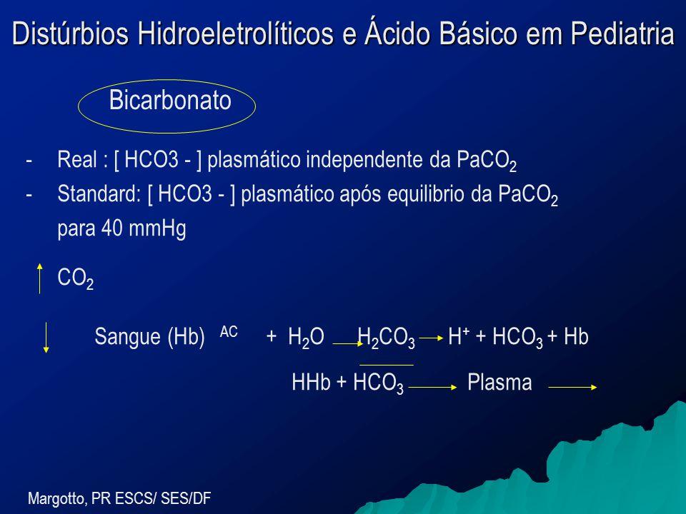 Distúrbios Hidroeletrolíticos e Ácido Básico em Pediatria Margotto, PR ESCS/ SES/DF -Real : [ HCO3 - ] plasmático independente da PaCO 2 -Standard: [ HCO3 - ] plasmático após equilibrio da PaCO 2 para 40 mmHg CO 2 Sangue (Hb) AC + H 2 O H 2 CO 3 H + + HCO 3 + Hb HHb + HCO 3 Plasma Bicarbonato