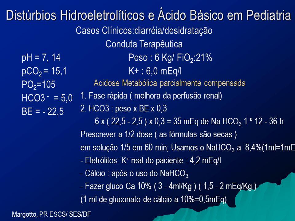 Distúrbios Hidroeletrolíticos e Ácido Básico em Pediatria Margotto, PR ESCS/ SES/DF Casos Clínicos:diarréia/desidratação Conduta Terapêutica pH = 7, 14Peso : 6 Kg/ FiO 2 :21% pCO 2 = 15,1K+ : 6,0 mEq/l PO 2 =105 HCO3 - = 5,0 BE = - 22,5 Acidose Metabólica parcialmente compensada 1.