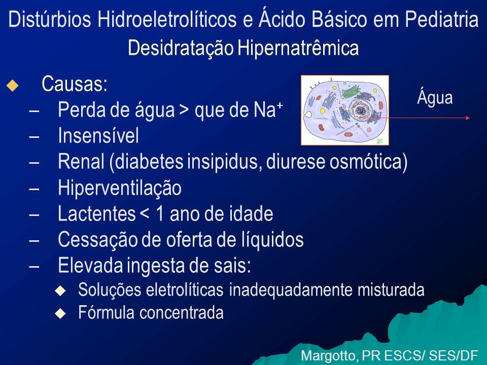 Distúrbios Hidroeletrolíticos e Ácido Básico em Pediatria Desidratação Hipernatrêmica   Causas: – –Perda de água > que de Na + – –Insensível – –Renal (diabetes insipidus, diurese osmótica) – –Hiperventilação – –Lactentes < 1 ano de idade – –Cessação de oferta de líquidos – –Elevada ingesta de sais:   Soluções eletrolíticas inadequadamente misturada   Fórmula concentrada Margotto, PR ESCS/ SES/DF Água