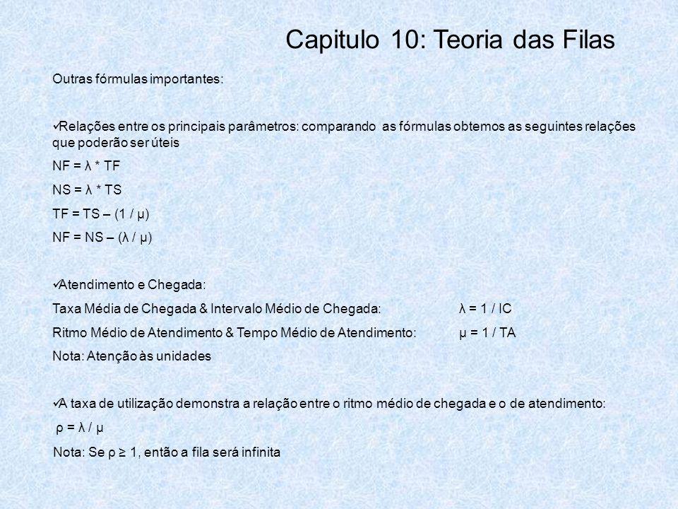 Outras fórmulas importantes: Relações entre os principais parâmetros: comparando as fórmulas obtemos as seguintes relações que poderão ser úteis NF =
