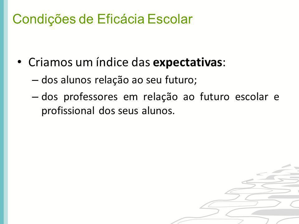 Criamos um índice das expectativas: – dos alunos relação ao seu futuro; – dos professores em relação ao futuro escolar e profissional dos seus alunos.
