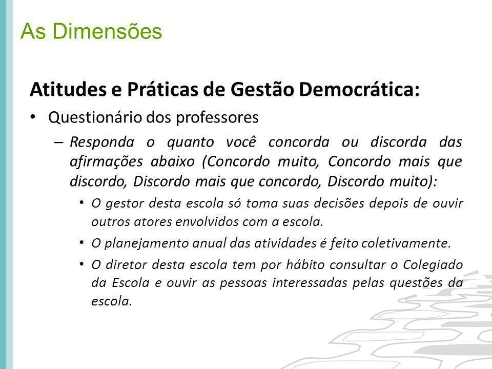 As Dimensões Atitudes e Práticas de Gestão Democrática: Questionário dos professores – Responda o quanto você concorda ou discorda das afirmações abai
