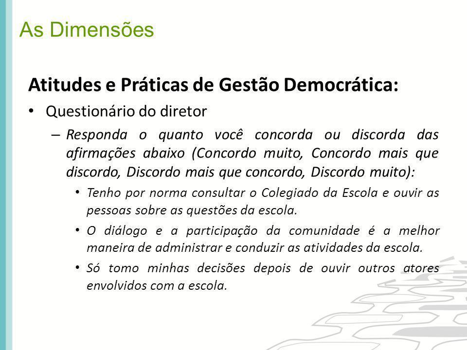 As Dimensões Atitudes e Práticas de Gestão Democrática: Questionário do diretor – Responda o quanto você concorda ou discorda das afirmações abaixo (C