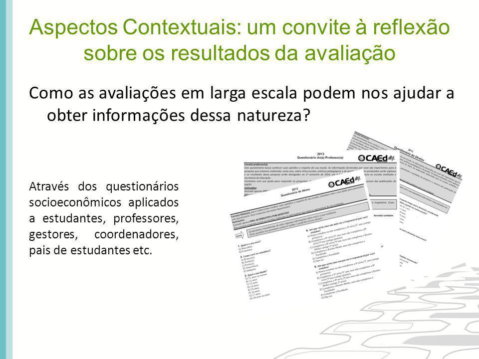 Qual a importância das informações que os questionários trazem para os resultados das avaliações em larga escala.