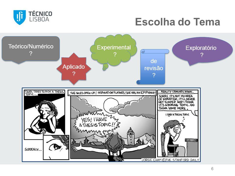 Escolha do Tema 6 Exploratório Teórico/Numérico Experimental de revisão Aplicado