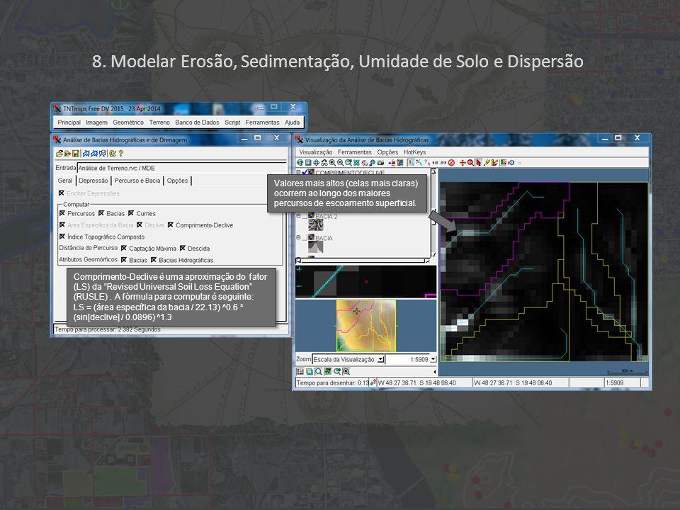 """8. Modelar Erosão, Sedimentação, Umidade de Solo e Dispersão Comprimento-Declive é uma aproximação do fator (LS) da """"Revised Universal Soil Loss Equat"""