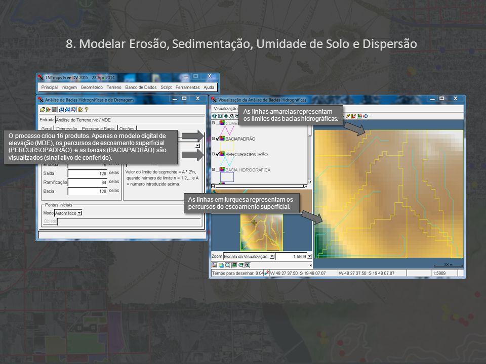 8. Modelar Erosão, Sedimentação, Umidade de Solo e Dispersão O processo criou 16 produtos.