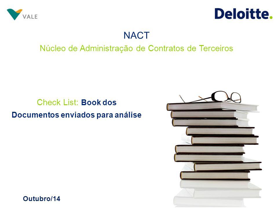 Check List: Book dos Documentos enviados para análise Outubro/14 NACT Núcleo de Administração de Contratos de Terceiros