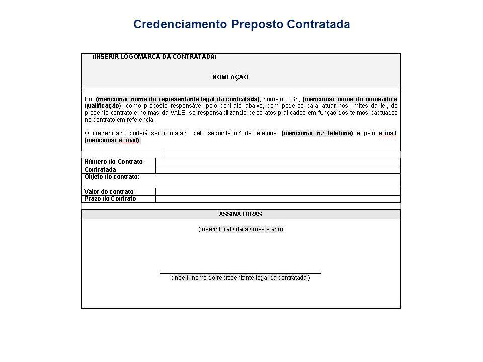 Credenciamento Preposto Contratada