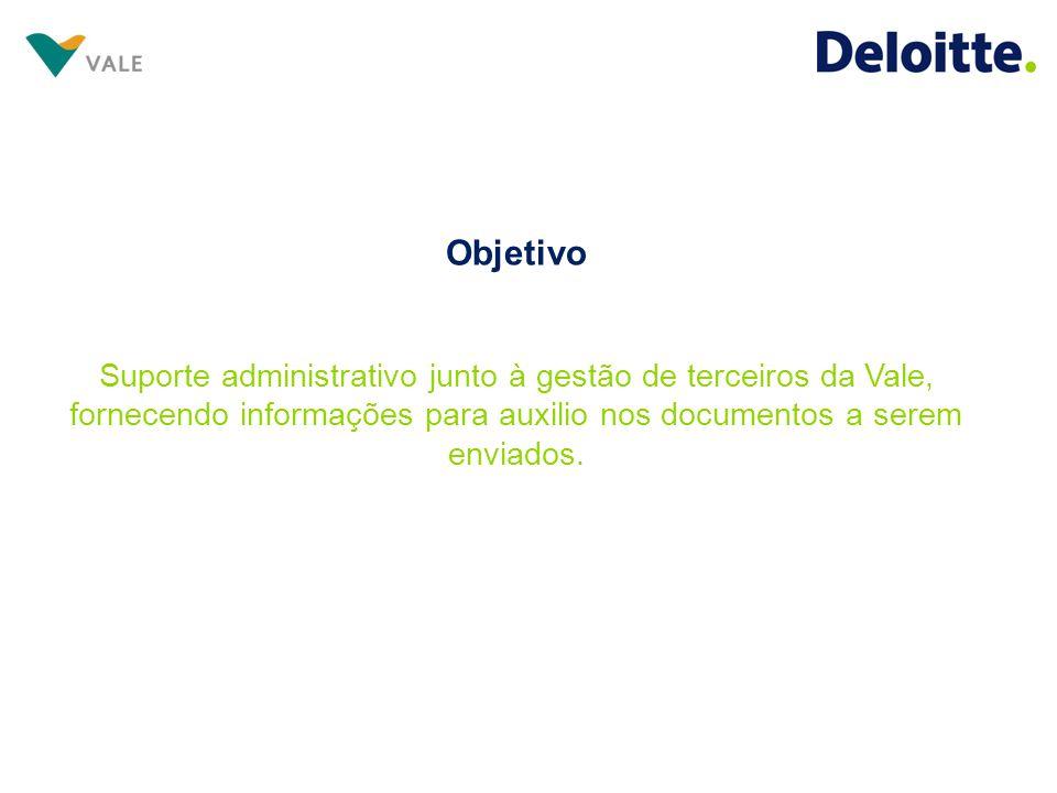 Objetivo Suporte administrativo junto à gestão de terceiros da Vale, fornecendo informações para auxilio nos documentos a serem enviados.
