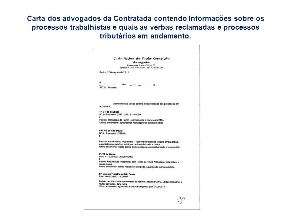 Carta dos advogados da Contratada contendo informações sobre os processos trabalhistas e quais as verbas reclamadas e processos tributários em andamen