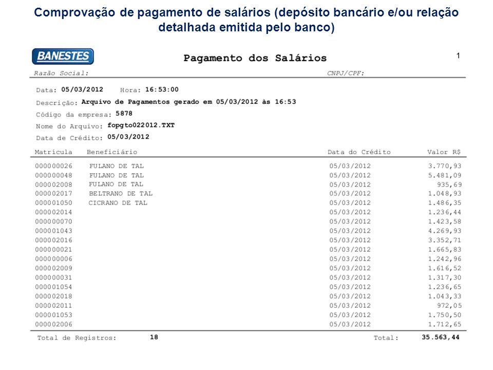 Comprovação de pagamento de salários (depósito bancário e/ou relação detalhada emitida pelo banco)