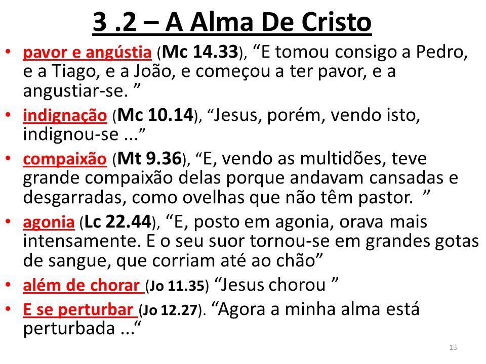 3.2 – A Alma De Cristo pavor e angústia ( Mc 14.33 ), E tomou consigo a Pedro, e a Tiago, e a João, e começou a ter pavor, e a angustiar-se.