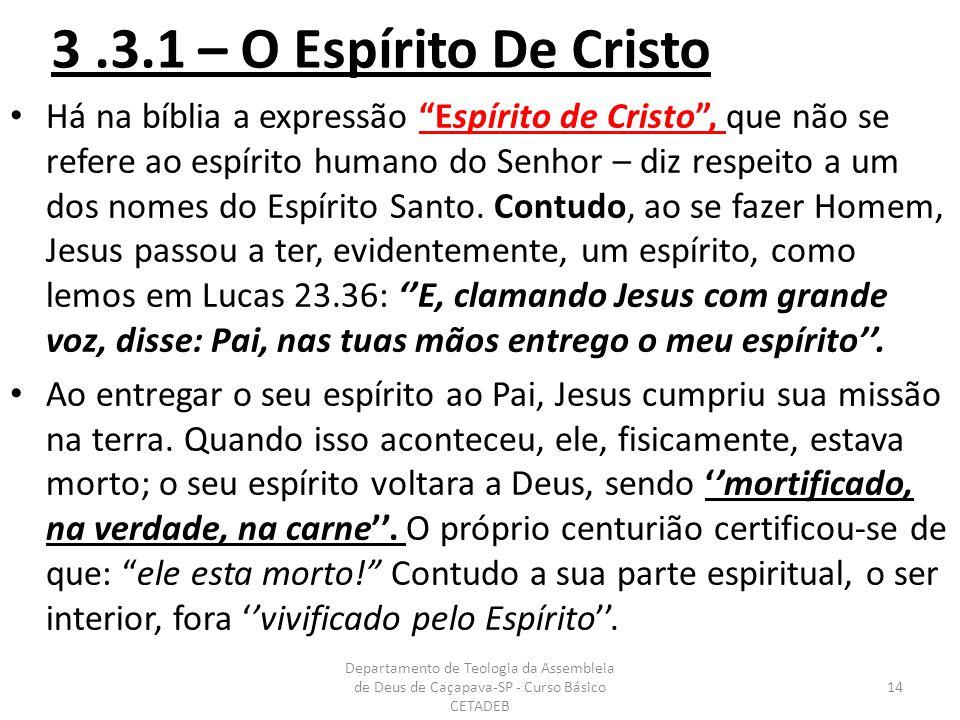 3.3.1 – O Espírito De Cristo Há na bíblia a expressão Espírito de Cristo , que não se refere ao espírito humano do Senhor – diz respeito a um dos nomes do Espírito Santo.