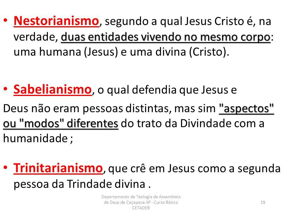 duas entidades vivendo no mesmo corpo Nestorianismo, segundo a qual Jesus Cristo é, na verdade, duas entidades vivendo no mesmo corpo: uma humana (Jesus) e uma divina (Cristo).