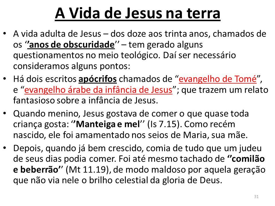 A Vida de Jesus na terra A vida adulta de Jesus – dos doze aos trinta anos, chamados de os ''anos de obscuridade'' – tem gerado alguns questionamentos no meio teológico.