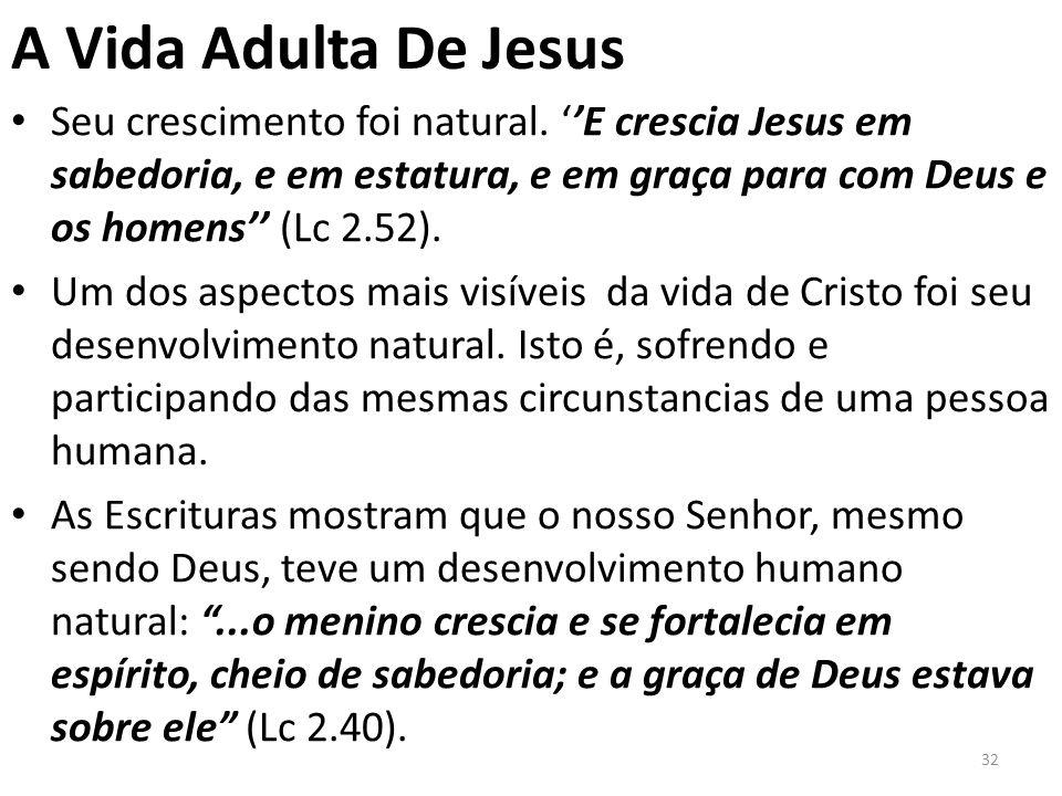A Vida Adulta De Jesus Seu crescimento foi natural.