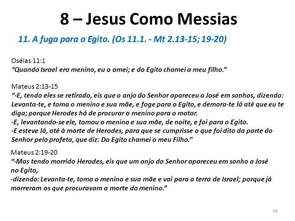 8 – Jesus Como Messias 11. A fuga para o Egito. (Os 11.1.