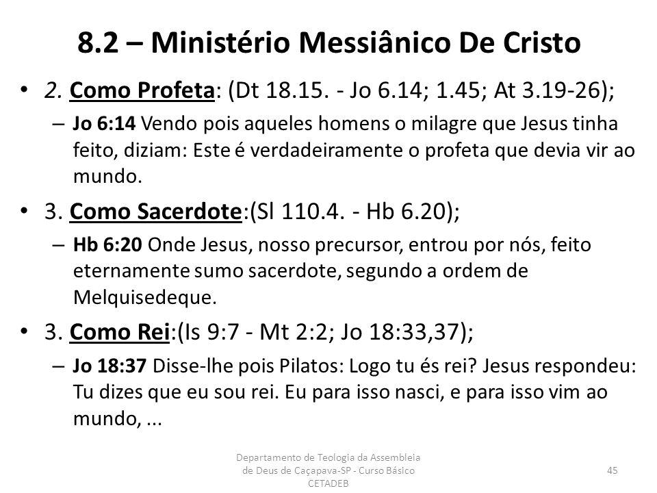 8.2 – Ministério Messiânico De Cristo 2. Como Profeta: (Dt 18.15.