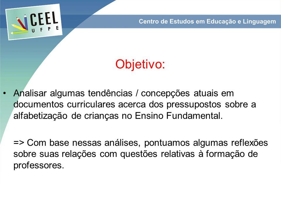 Objetivo: Analisar algumas tendências / concepções atuais em documentos curriculares acerca dos pressupostos sobre a alfabetização de crianças no Ensino Fundamental.