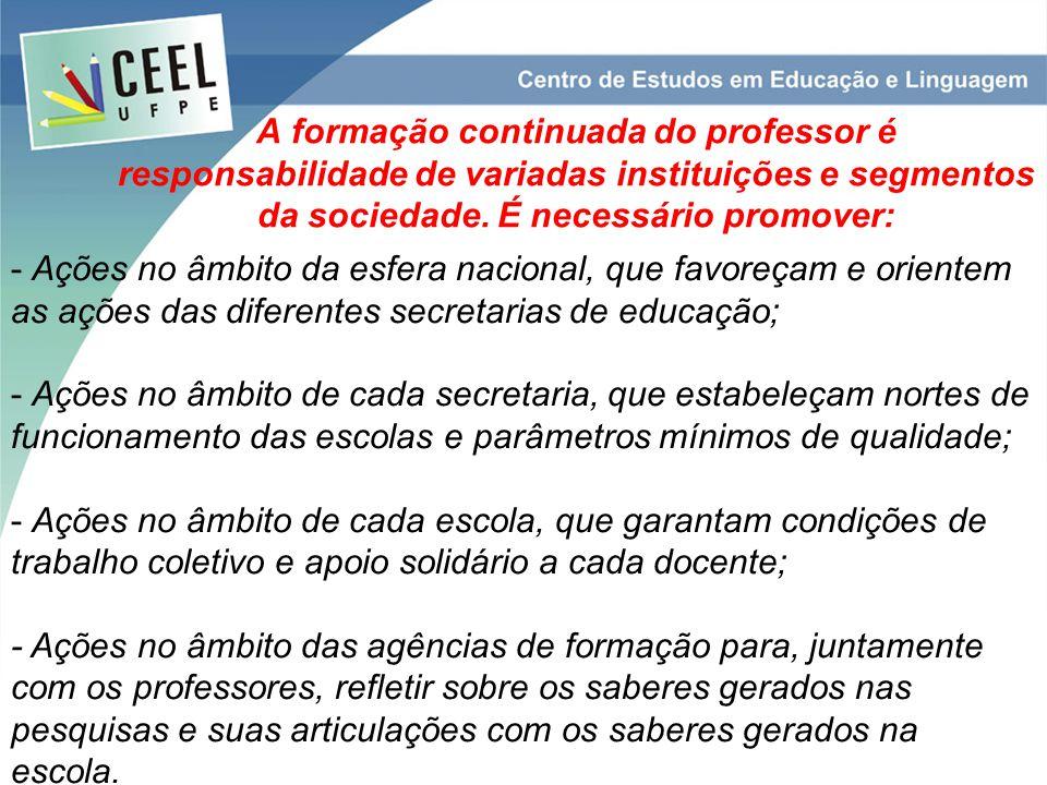 A formação continuada do professor é responsabilidade de variadas instituições e segmentos da sociedade.