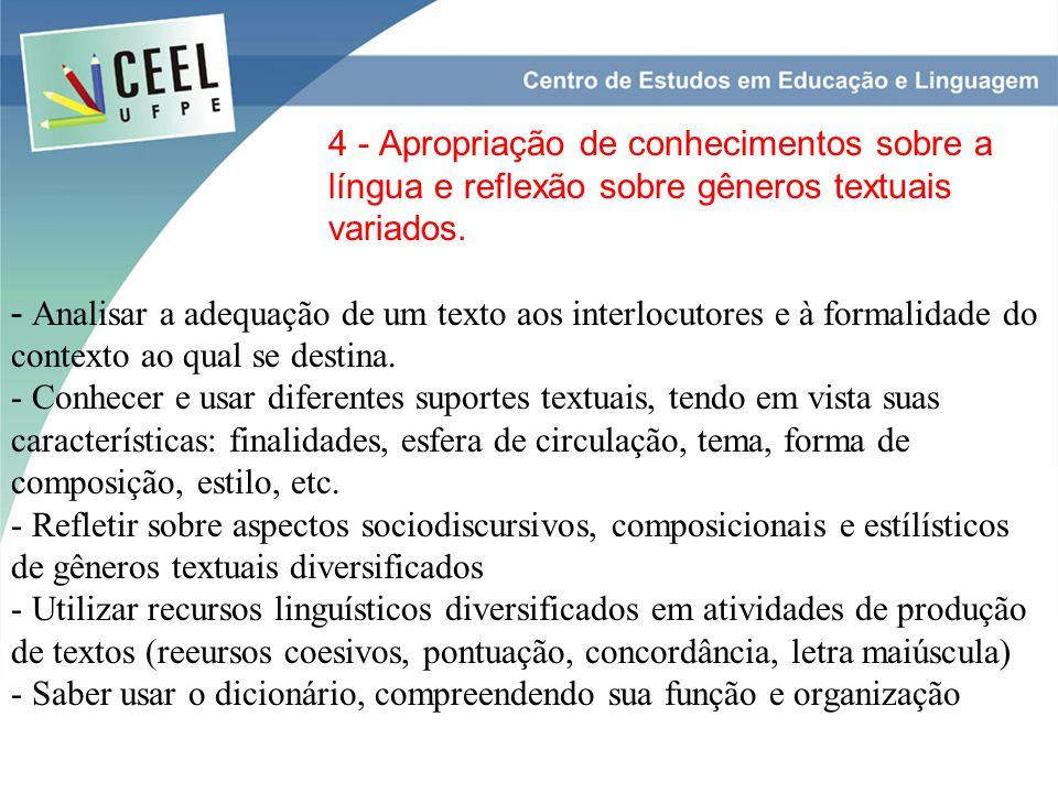 4 - Apropriação de conhecimentos sobre a língua e reflexão sobre gêneros textuais variados.