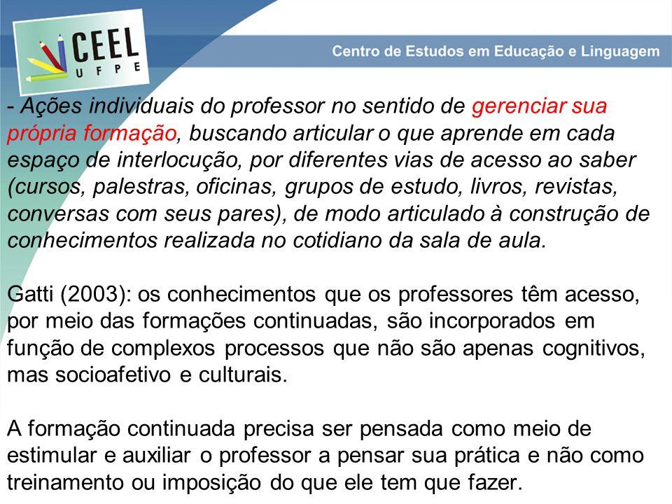 - Ações individuais do professor no sentido de gerenciar sua própria formação, buscando articular o que aprende em cada espaço de interlocução, por di
