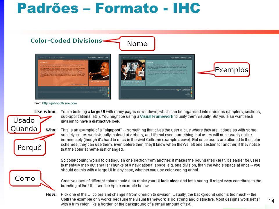 14 Padrões – Formato - IHC Porquê Exemplos Usado Quando Nome Como