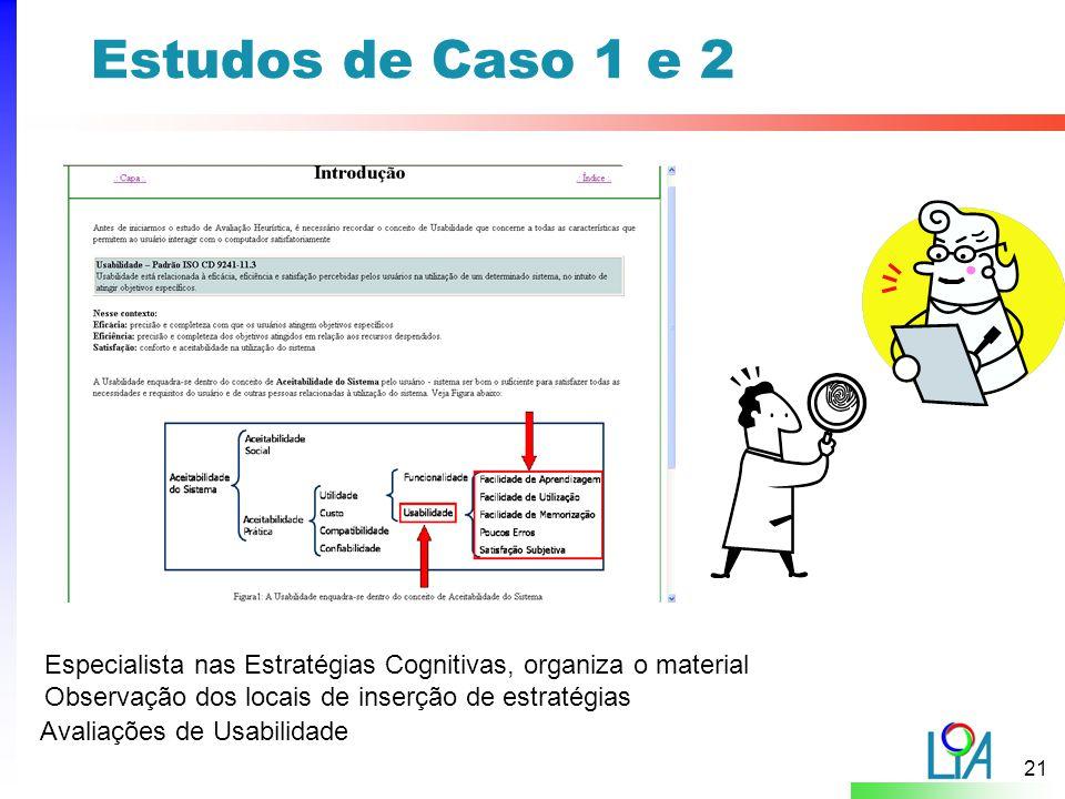 21 Estudos de Caso 1 e 2 Especialista nas Estratégias Cognitivas, organiza o material Observação dos locais de inserção de estratégias Avaliações de Usabilidade