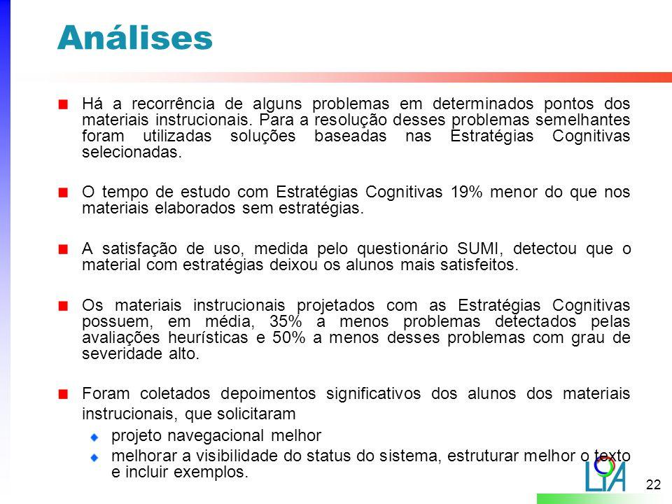 22 Análises Há a recorrência de alguns problemas em determinados pontos dos materiais instrucionais.