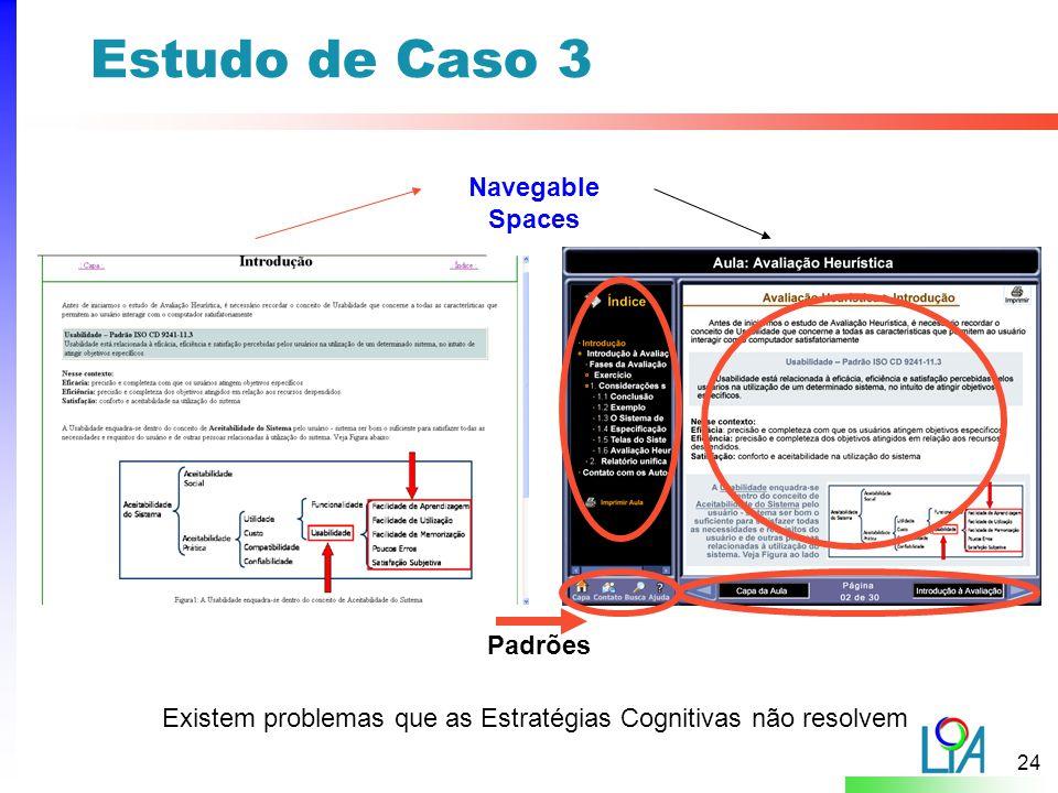 24 Estudo de Caso 3 Navegable Spaces Padrões Existem problemas que as Estratégias Cognitivas não resolvem