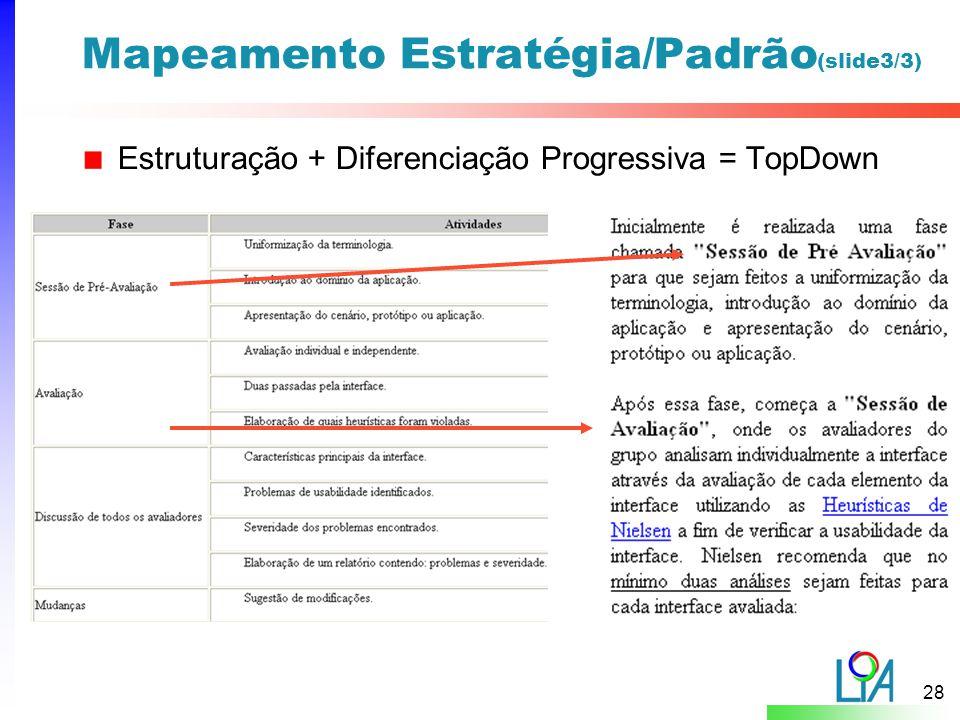 28 Mapeamento Estratégia/Padrão (slide3/3) Estruturação + Diferenciação Progressiva = TopDown