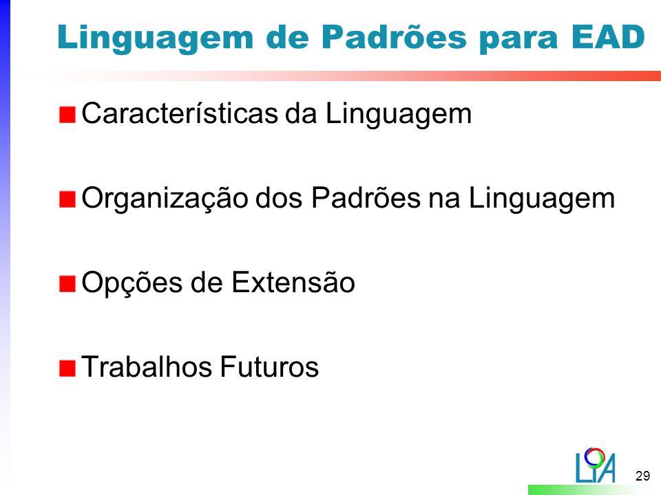 29 Linguagem de Padrões para EAD Características da Linguagem Organização dos Padrões na Linguagem Opções de Extensão Trabalhos Futuros