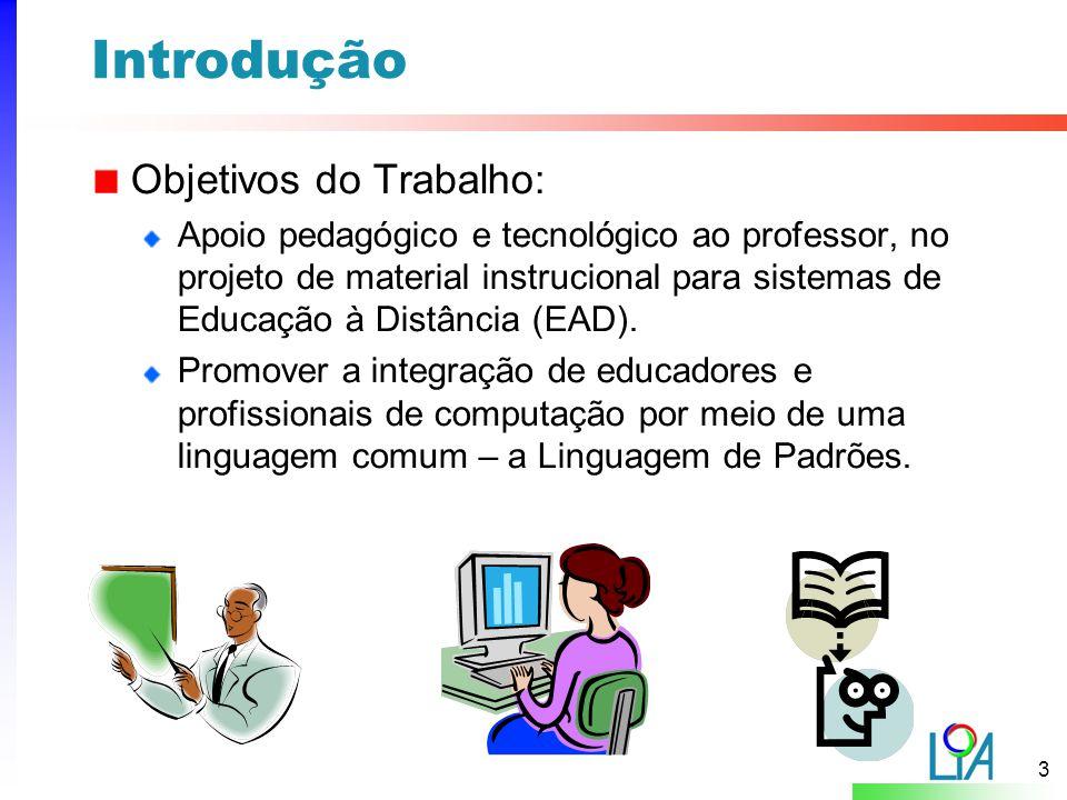 3 Introdução Objetivos do Trabalho: Apoio pedagógico e tecnológico ao professor, no projeto de material instrucional para sistemas de Educação à Distância (EAD).